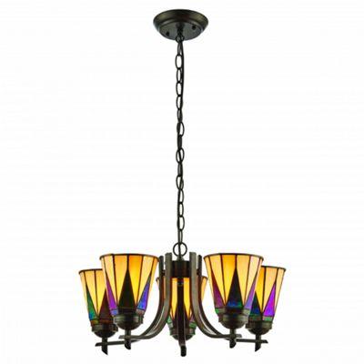 Pendant Light - Dark bronze paint with highlights & tiffany style glass