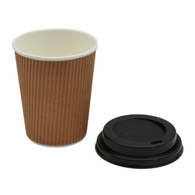 Disposable Coffee Tea Hot Drinks Ripple Brown Cup & Black Lid 8oz x20