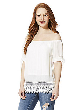 Vero Moda Short Sleeve Bardot Top - White