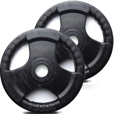 Buy Marcy 2 X 25kg Olympic Weight Plates Tri Grip Black Rubber From Our All Weights Amp Strength