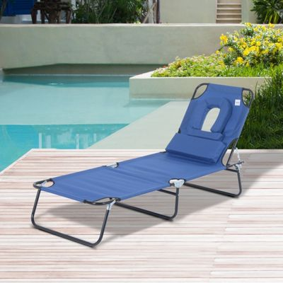 Outsunny Sun Lounger Foldable Reclining Chair with Pillow Garden Beach - Blue