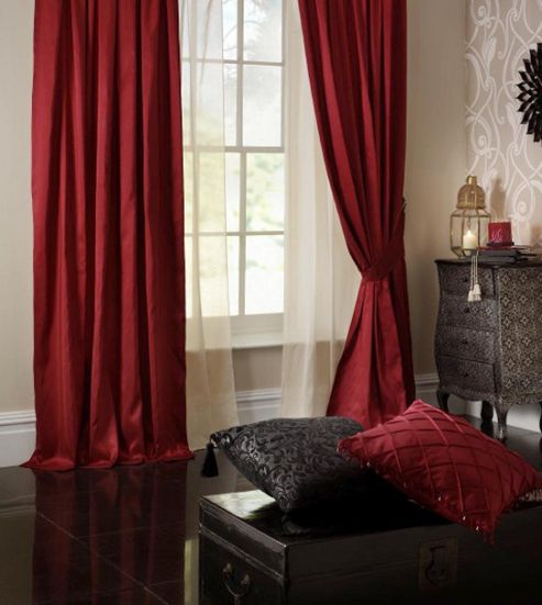 Catherine Lansfield So Soft Faux Silk Curtains in Ruby - 90cm H x 90cm W