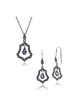 Gemondo Sterling Silver Amethyst & Marcasite Art Nouveau Drop Earring & 45cm Necklace Set