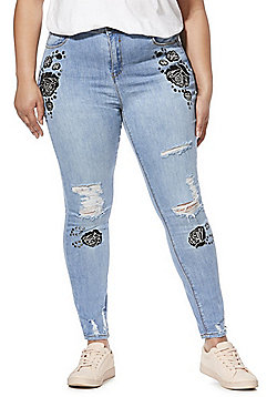 Simply Be Chloe Embroidered Plus Size Skinny Jeans - Blue
