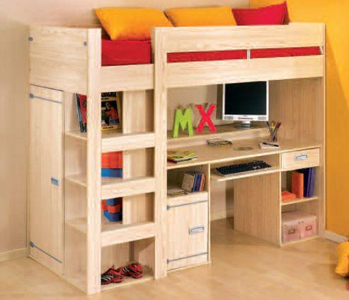 Gami Skipper High Sleeper Bed Frame with Desk in Ash