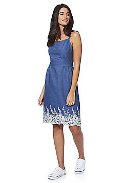 Yumi Embroidered Chambray Dress - Blue