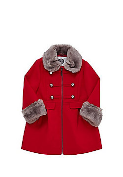 F&F Faux Fur Trim Military Button Princess Coat - Red