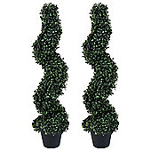 Charles Bentley Pair of 3ft Spiral Topiary Artificial Trees