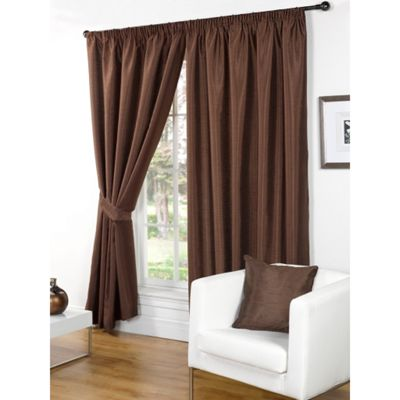 Hamilton McBride Faux Silk Pencil Pleat Chocolate Curtains - 46x72 Inches (117x183cm) Includes Tiebacks