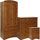 Scandinavian Pine Bedside - 2+4 Chest - 2 Door 3 Drawer Robe Package