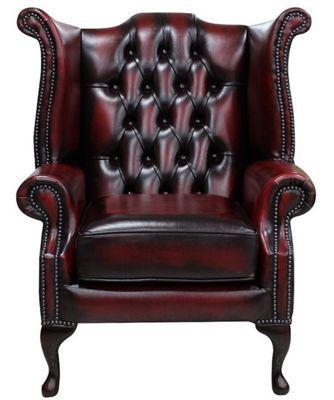 Chesterfield Queen Anne High Back Wing Chair - Antique Oxblood