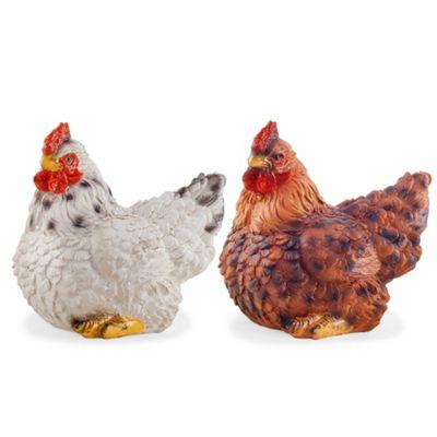 Mint & Saffron the Realistic Resin Sitting White & Brown Hen/Chicken Garden Ornament Pair