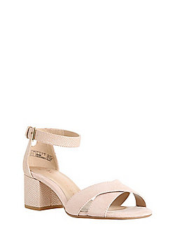 F&F Sensitive Sole Wide Fit Block Heel Sandals - Nude
