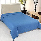 Homescapes Cotton Rajput Ribbed Blue Throw, 255 x 360 cm