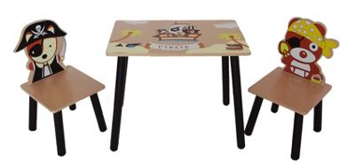 Kiddi Style Childrens Pirate Themed Wooden Table & 2 Chairs - Brown