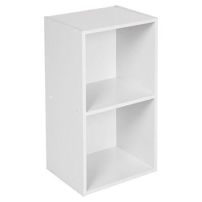 Top Home Solutions 2 Tier Wooden Bookcase Shelving Display Storage Wood Shelf Shelves Unit White