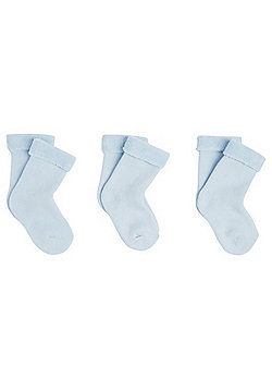 F&F 3 Pair Pack of Terry Ankle Socks - Blue