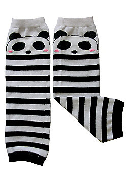Dotty Fish Baby Leg Warmers - Black and White Striped Panda - Black & White