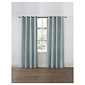 Basketweave Lined Eyelet Curtains, Duck Egg (66 x 54'') - Duck egg
