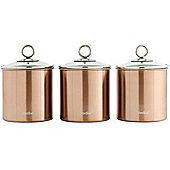 VonShef Copper 3pc Kitchen Canister Set