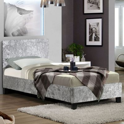 Happy Beds Berlin Crushed Velvet Fabric Bed with Orthopaedic Mattress - Steel - 4ft Small Double
