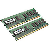 Crucial 2GB (1GBx2) DDR2 800MHz PC2-6400 240-pin DIMM CL6 Unbuffered NON-ECC Memory Module (Kit Of 2)