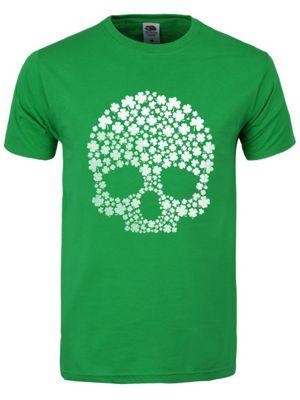 St Patrick's Day Lucky Skull Men's T-shirt, Green