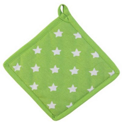 Homescapes Cotton Stars Lime Green Orange Pot Holder