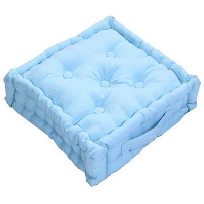 Homescapes Cotton Blue Floor Cushion, 50 x 50 cm