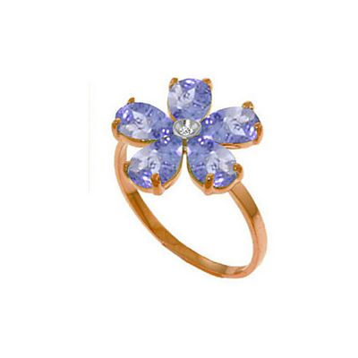 QP Jewellers Diamond & Tanzanite Foliole Ring in 14K Rose Gold - Size T