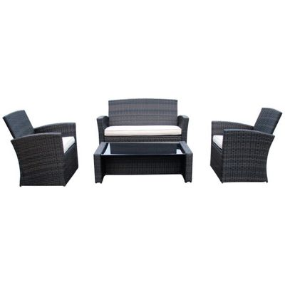 bentley garden deluxe rattan 4 piece furniture set brown cream - Rattan Garden Furniture Tesco
