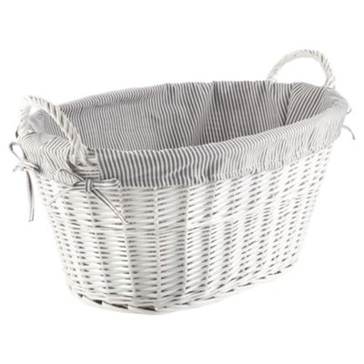 buy tesco wicker laundry basket grey stripe fabric lined white from our laundry baskets bins. Black Bedroom Furniture Sets. Home Design Ideas