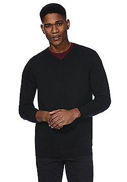 F&F Signature Merino Wool V-Neck Jumper - Black