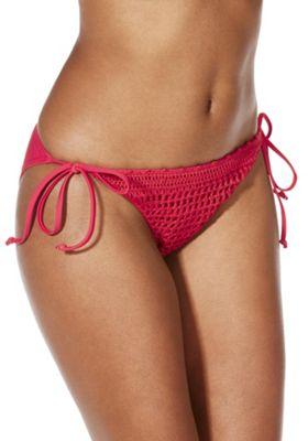 South Beach Crochet Side Tie Bikini Briefs Red 12