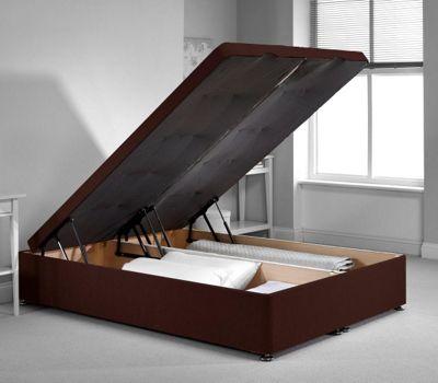 Richworth Ottoman Divan Bed Frame - Chocolate Chenille Fabric - Small Single - 2ft6