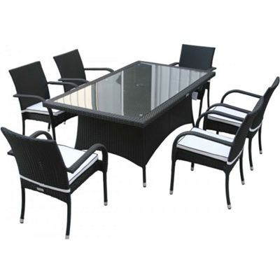Roma 6 Chairs And Large Rectangular Table Set in Black and Vanilla