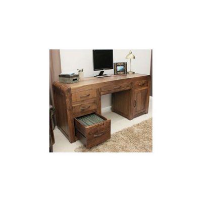 Baumhaus Shiro Twin Pedestal Computer Desk in Walnut