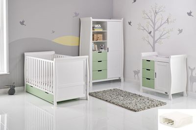 Obaby Stamford Cot Bed 5 Piece Nursery Room Set/Sprung Mattress/Quilt and Bumper Set - White with Pistachio