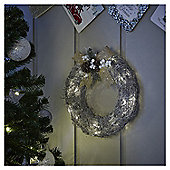 Large Pre Lit Silver Rattan Christmas Wreath