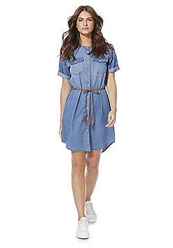 JDY Belted Denim Dress - Blue