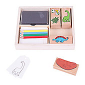 Bigjigs Toys Dinosaur Rubber Stamp and Colour Set with Ink Pad