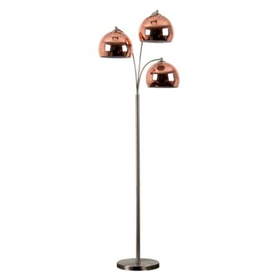 Buy Dantzig 3 Arm Floor Lamp Base Brushed Chrome with Copper Shades ...