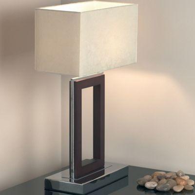 Endon Lighting Table Lamp in Dark Wood/Chrome