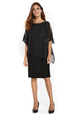 Wallis Sparkle Overlayer Dress 8 Black