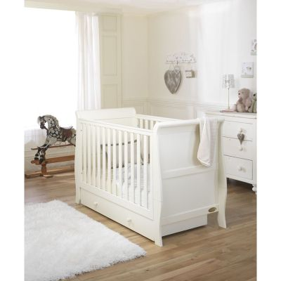 Mee-Go Sleep Sleigh Cotbed Ivory/Drawer/Sprung Mattress/Quilt and Bumper