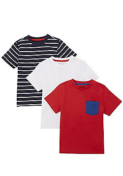 F&F 3 Pack of Plain and Striped T-Shirts - Multi