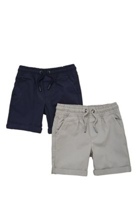 F&F 2 Pack of Drawstring Woven Shorts Multi 12-18 months