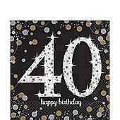 Sparkling Celebration Age 40 Lunch Napkins - 2ply Paper