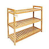 Woodluv 3 Tier Natural Bamboo Shoe Rack