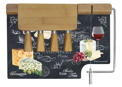 Stow Green Bamboo Cheese Board with Wire and Four Cheese Knives